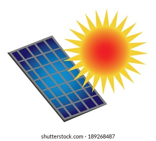 Sun Power. A stylized sun shining onto a stylized solar panel