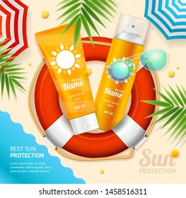 Sun Protection Ad Concept Card Background with Tube Container Lotion for Face and Body. Vector illustration of Sunblock