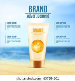 Sun protection cosmetic product design. Cosmetic bottle on a blur nature background. Template for ads or magazine. 3d illustration. EPS10 vector