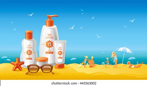 Sun protection cosmetics set. Beautiful cream and lotion tubes, sunglasses, starfish. Happy family on the sea beach as background. For travel agency, summer vacation, beauty products.