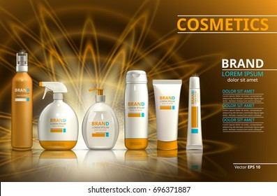 Sun protection realistic product set collection. Cosmetic bottles with logo label design on a blur sparkling background. Template for ads or magazine. 3d illustrations
