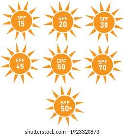 sun protection sign. flat style. set of SPF sun protection icons on white background. SPF sun protection symbol.