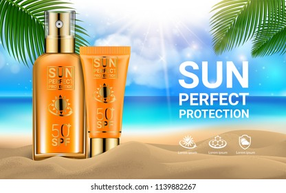 Sun Protection Sunscreen Sprays Tube of Sunscreen Cream for the Face Palm Branches Marine Background. Concept Advertising Products for Sunburn. Summer and Rest. Sand Sea Ocean. Vector illustration
