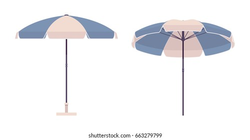 Sun protective outdoor umbrella for beach, set in blue and white color stripe, large parasol for summer vacation or seaside picnic. Vector flat style cartoon illustration, isolated, white background