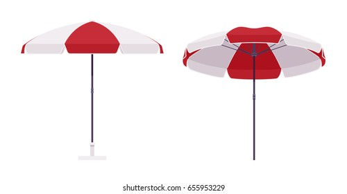 Sun protective umbrella for beach, set in red and white color, large parasol for outdoor space, summer vacation or picnic accessory. Vector flat style cartoon illustration, isolated, white background