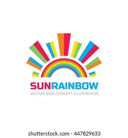 Sun rainbow - logo template vector illustration for kids development center. Happiness positive abstract sign. Colored shapes. Design element.