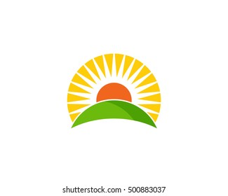 Sun Ray Sun Light Horizon Logo Design Template
