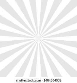 Sun rays background. Gray radiate sun beam, burst effect. Sunbeam light flash boom. Template poster sale. Sunlight star, sunrise glow burst. Solar radiance glare, retro design Vector illustration