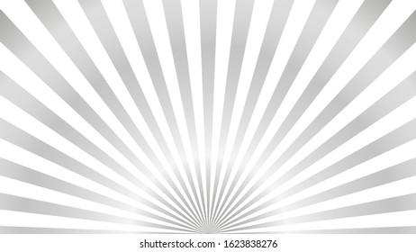 Sun rays background. Gray radiate sun beam burst effect. Sunbeam light flash boom. Template starburst poster. Sunlight star, sunrise glow burst. Solar radiance glare, retro design Vector illustration