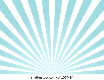 Sun rays blue and white vector background