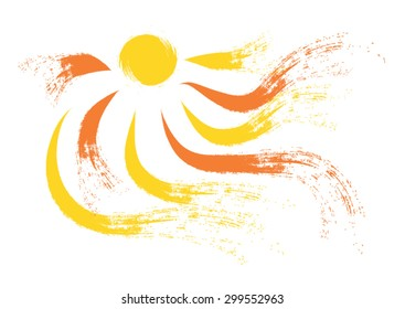Sun and sun rays as brush stroke style illustration