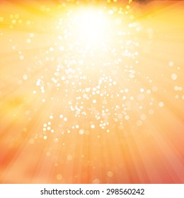 Sun Rays with Bubbles - Vector Background Design