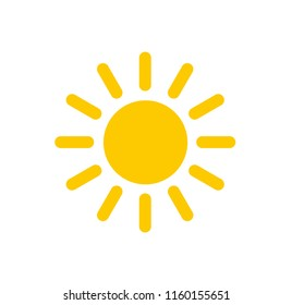 Sun with rays, flat icon. Stylized graphic image of the sun in the form of a circle and strokes radially extending from it.