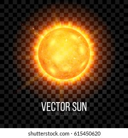 Sun with Rays and Glow on Transparent Background. Sunshine Global Warming Design Concept. Vector Illustration.