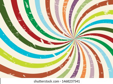 Sun rays with grunge texture. Starburst striped vector spiral lines. Radial and hippy groovy retro background. Vintage sunburst swirl, poster art old illustration.