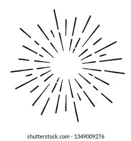 Sun rays hand drawn, linear drawing