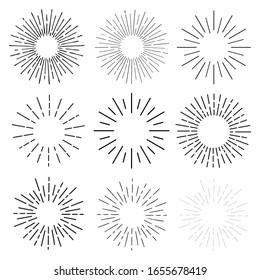 Sun rays hand drawn, linear drawing. Mega set 9 in 1