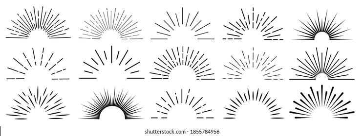 Sonnenstrahlen, handgezeichnet, lineare Zeichnung