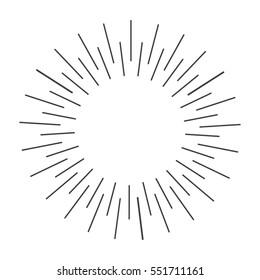Sun rays hand drawn, vector illustration