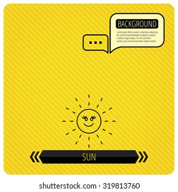 Sun rays icon. Summer sign. Hot weather symbol. Chat speech bubbles. Orange line background. Vector