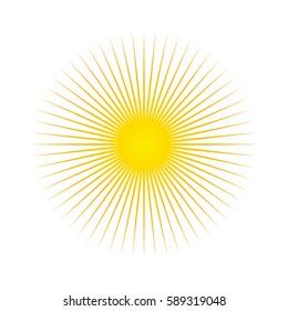Sun. Sun rays icon. Vector illustration. White background