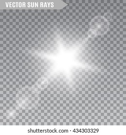 Sun rays on transparent background. Lens flare. Light effect. Vector illustration.