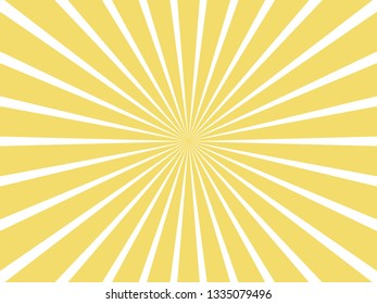 sun and rays on yellow background.