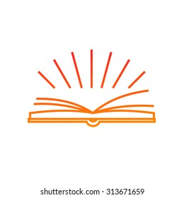 Sun rays over opened book line vector logo. Outline education and knowledge concept. Library, school, university or college education. E-book icon. Open book logotype design template