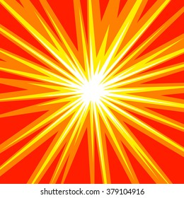 Sun rays or star burst element Square fight stamp for card Comic red and yellow radial lines background Manga or anime speed graphic texture Superhero action frame Explosion vector illustration