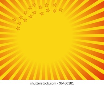 sun rays and stars with space for text, vector