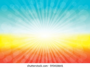 Sun rays sunburst background. Vector illustration of a glowing Summer time background.