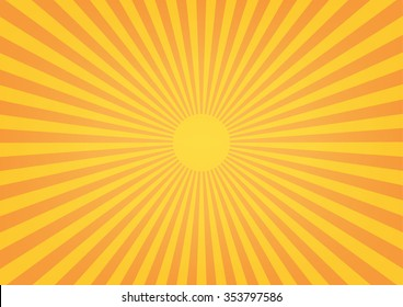 Sun rays, sunburst on orange color background. Vector illustration design.