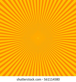 Sun rays, sunburst on orange color background. Sunburst pattern. Abstract radial bright sun burst background. Orange center sunlight gradient design. Vector sunbeam. Line sunray 2d vector background