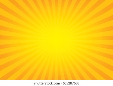 Sun rays with sunburst on orange color background. Vector illustration design.