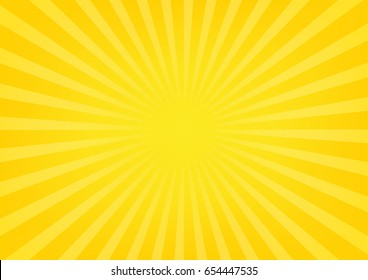 Sun rays, sunburst on yellow and orange color background. Vector illustration summer background design.