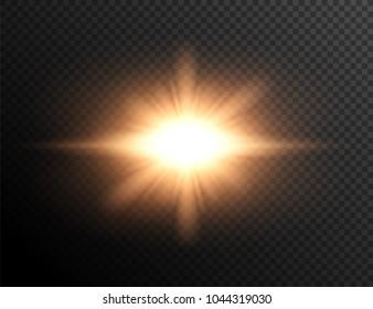 Sun rays. Sunset. Rays of light. Explosion light effect.