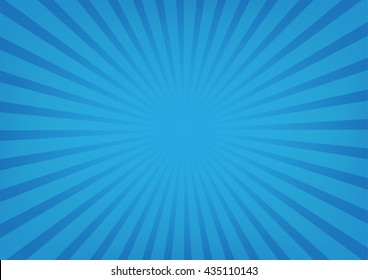 Sun rays vector, sunburst on blue color background. Vector illustration background design.