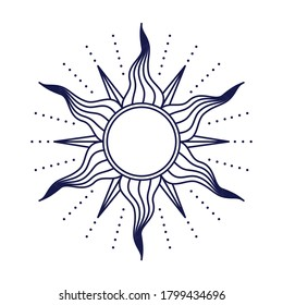 Sun in retro style isolated on white background. Vector illustration