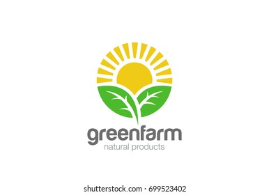 Sun rise over Leaves Logo design vector template. Alternative Energy concept. Eco organic green Farm natural fresh products Logotype icon.