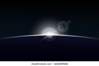 Sun rising over planet on outer space - bright white sunrise on dark galaxy background with realistic lens flare. Star and planet eclipse backdrop - vector illustration