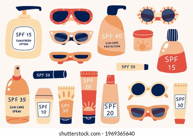 Sun safety collection. Tubes and bottles of sunscreen products with different SPF: cream, lotion, lipstick, spray. Hand drawn summer cosmetic and different sun glasses. Skin protection. Vector