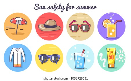 Sun safety for summer poster with umbrella and hat sunglasses and cool drinks, lotions and sun safety vector illustration isolated on white background
