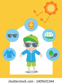 sun safety tips and boy kid illustration. UV protection items,hat,sunglasses,shade,sunscreen,and clothing help protect against the UV rays