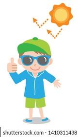 sun safety tips boy kid illustration. UV protection products,hat,sunglasses,shade,sunscreen,and clothing help protect against the UV rays