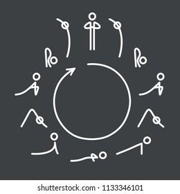Sun Salutation yoga exercise, Surya Namaskara flow. Circle with yoga poses icons in very simple, minimal style.