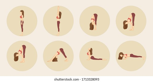 sun salutation Yoga pose - isolation in a cycle on beige background Cartoon vector yoga pose Surya Namaskara