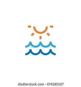 Sun and sea icon, summer icon, pictogram, colored