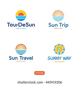 Sun And Sea logo design template set. Vector colorful sign logotypes for travel agency. Cruise summer circle icons with blue ocean