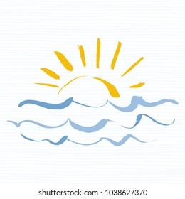 Sun and sea logo icon. Handmade grunge icon isolated on white background. Sunrise over the sea. Editable vector illustration
