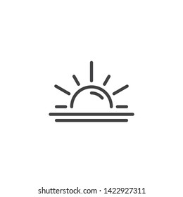 Sun and sea water line icon. linear style sign for mobile concept and web design. Sunrise, horizon outline vector icon. Summer weather symbol, logo illustration. Vector graphics